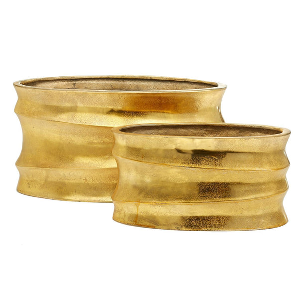 Golden Wave Planters, Set of 2