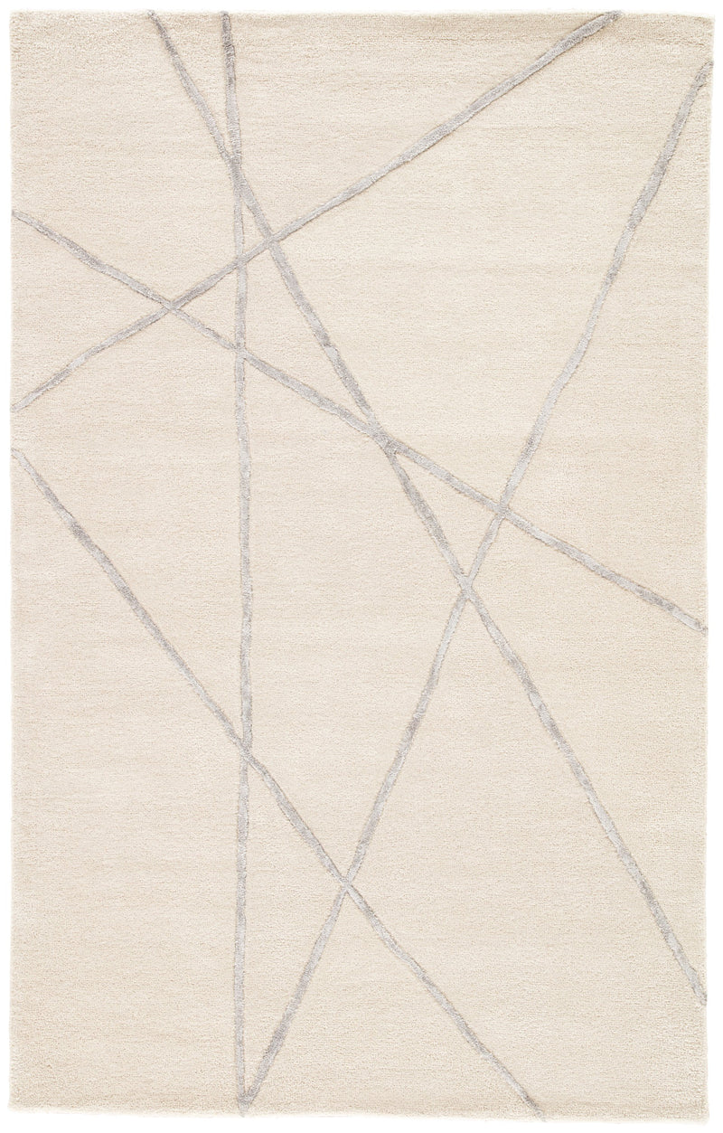 Navonna Handmade Abstract Cream & Silver Area Rug