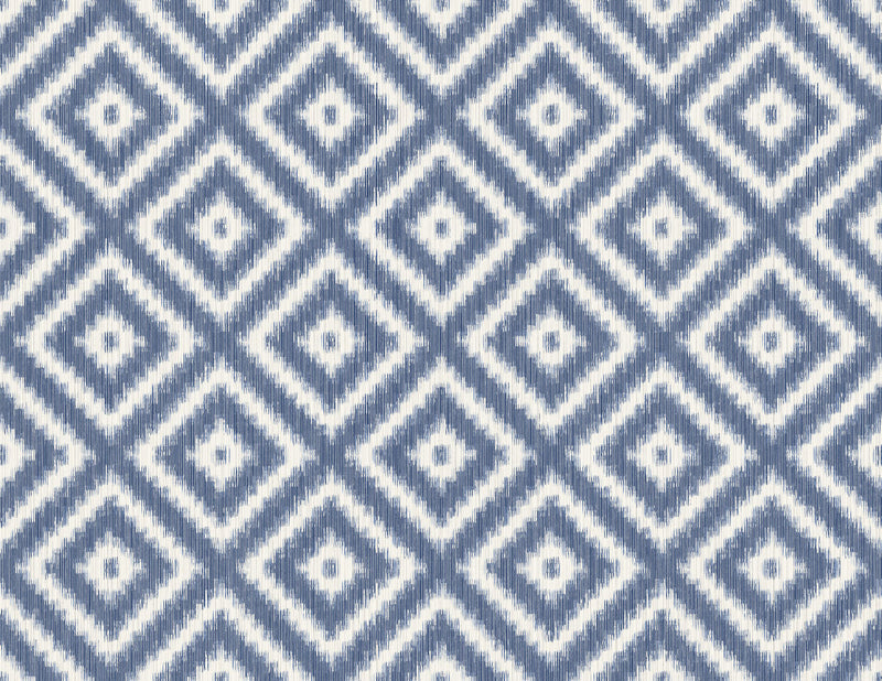 Ikat Diamond Indigo Wallcovering