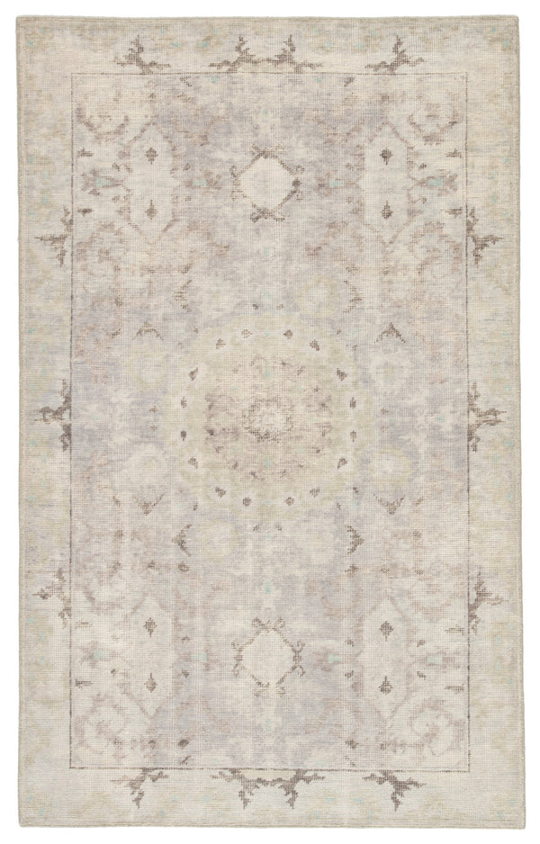 Modify Hand-Knotted Medallion Gray & Blue Area Rug