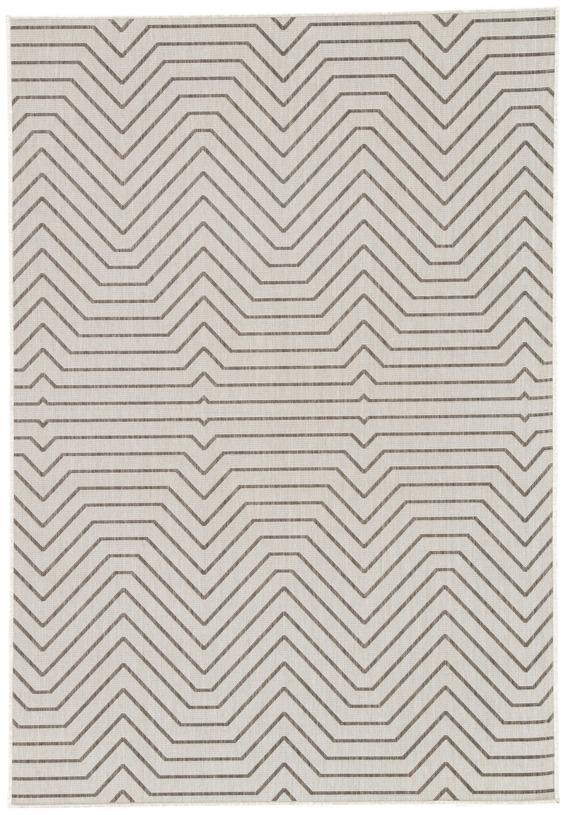 Prima Indoor/ Outdoor Geometric Light Gray/ Black Area Rug