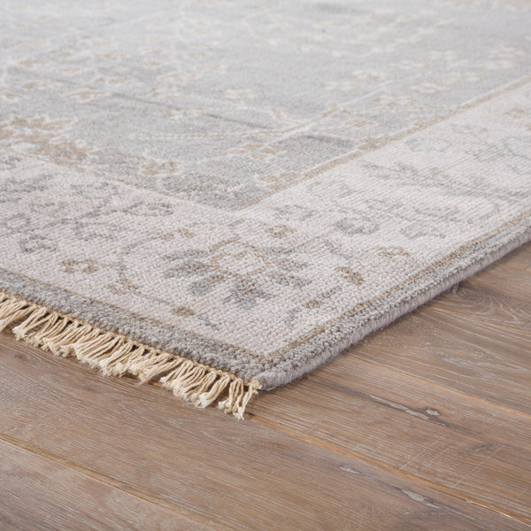 Reagan Border Rug in Pelican & Frost Gray design by Jaipur