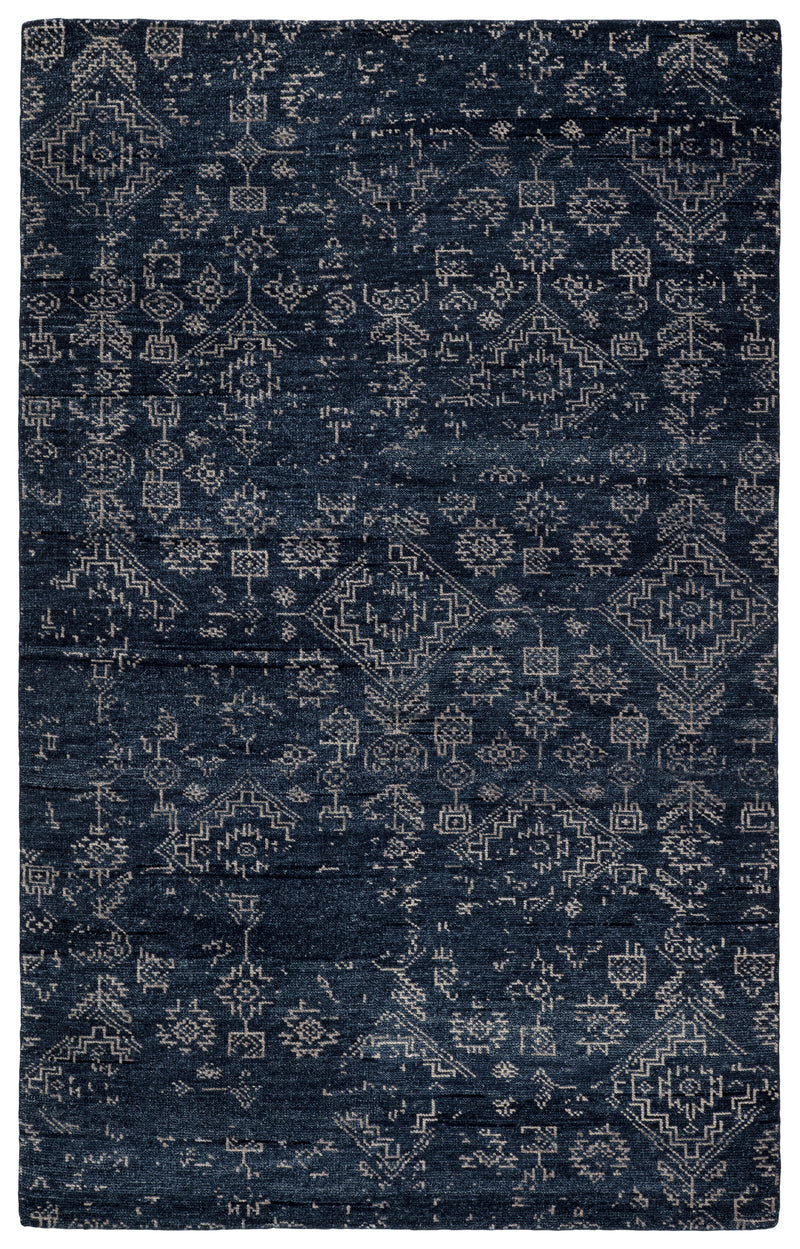 Azuma Hand-Knotted Tribal Dark Blue/ Light Gray Area Rug