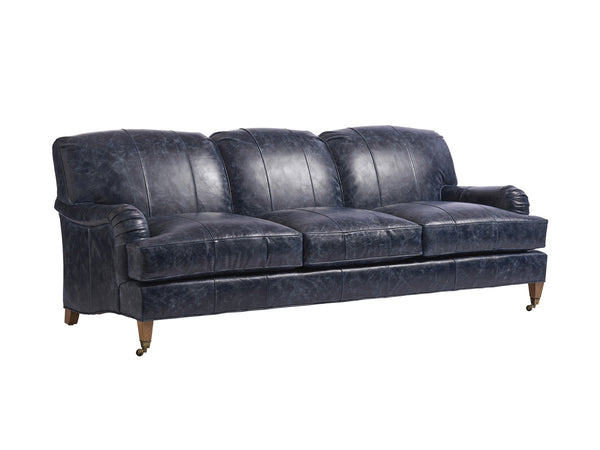 Sydney Leather Sofa With Brass Casters
