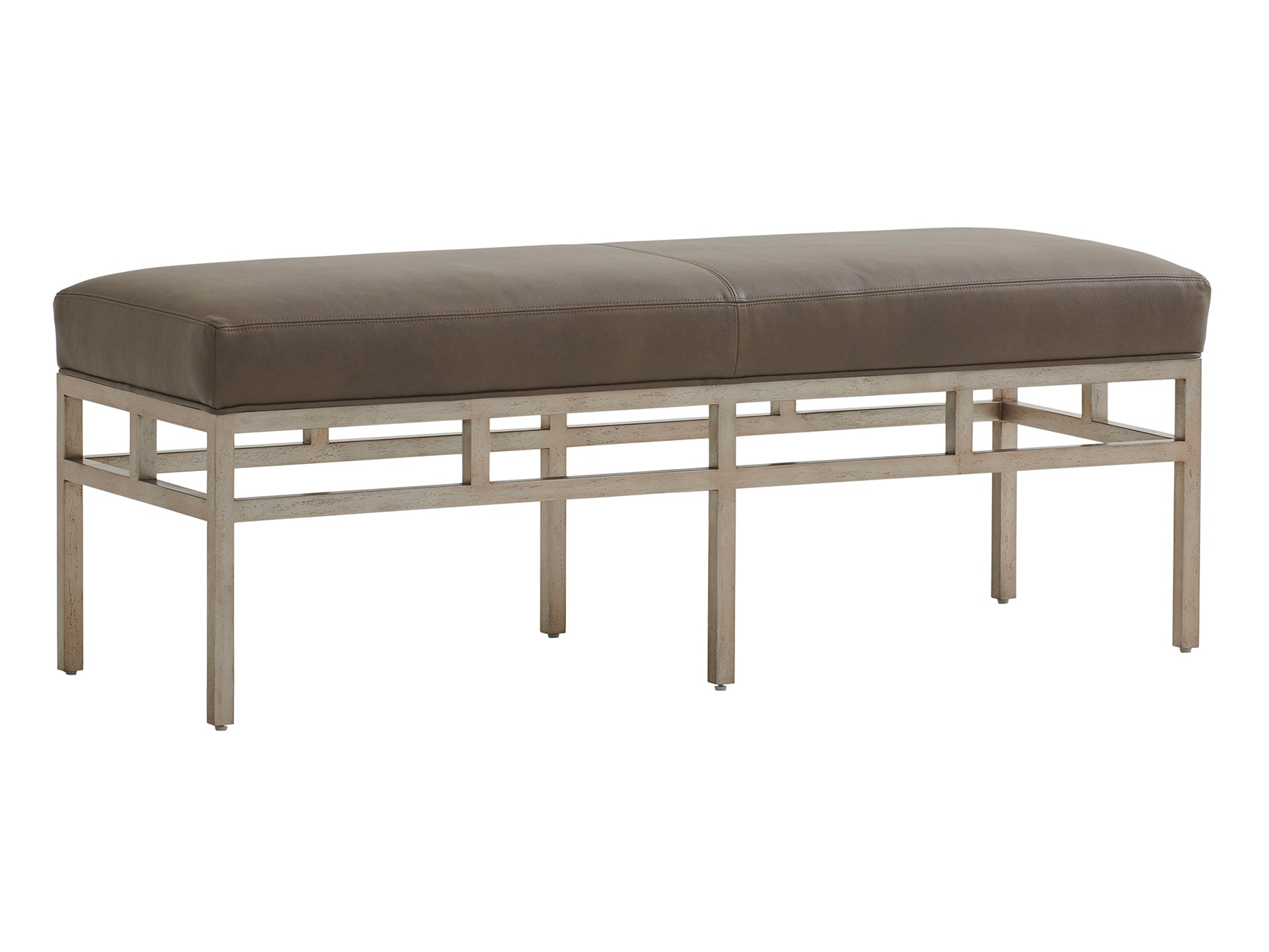 Lucca Leather Metal Bench by shopbarclaybutera