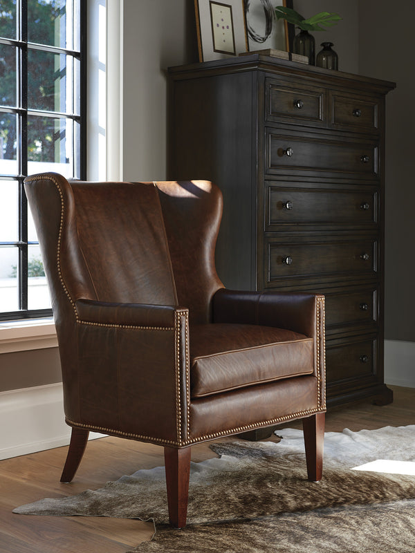 Avery Leather Wing Chair by shopbarclaybutera