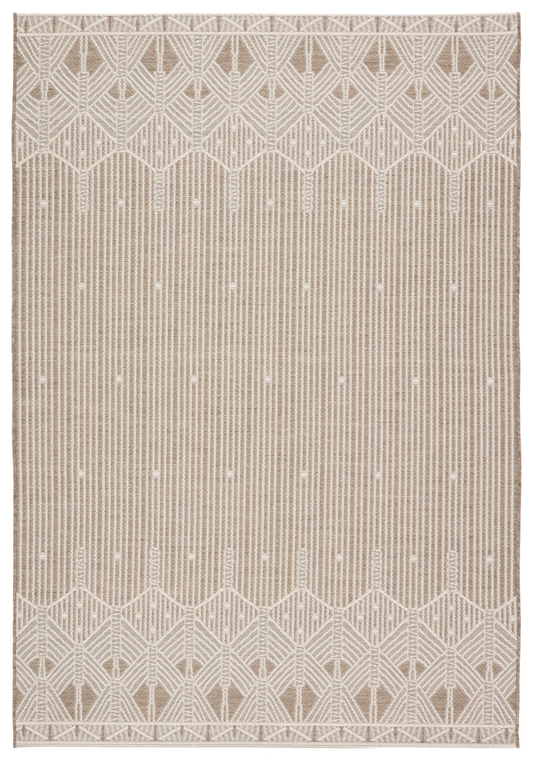 Belvidere Indoor/ Outdoor Geometric Taupe/ Cream Area Rug