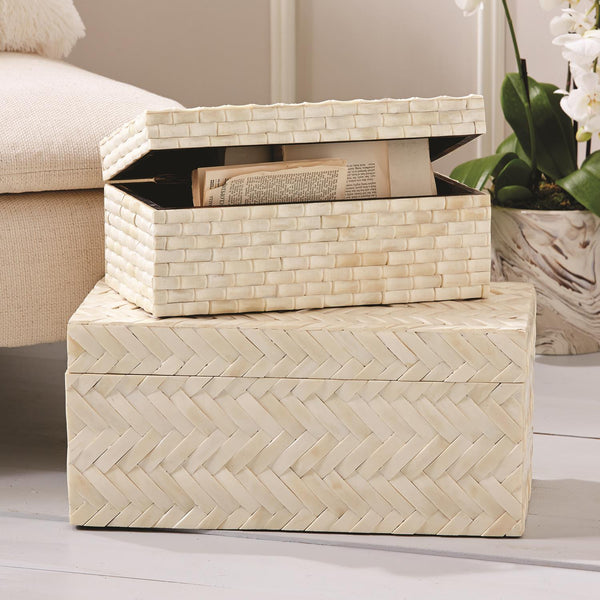 Basketweave Bone Boxes, Set of 2