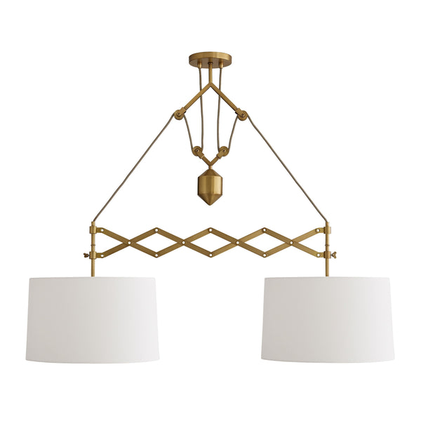 Pantograph Pendant, White and Antique Brass