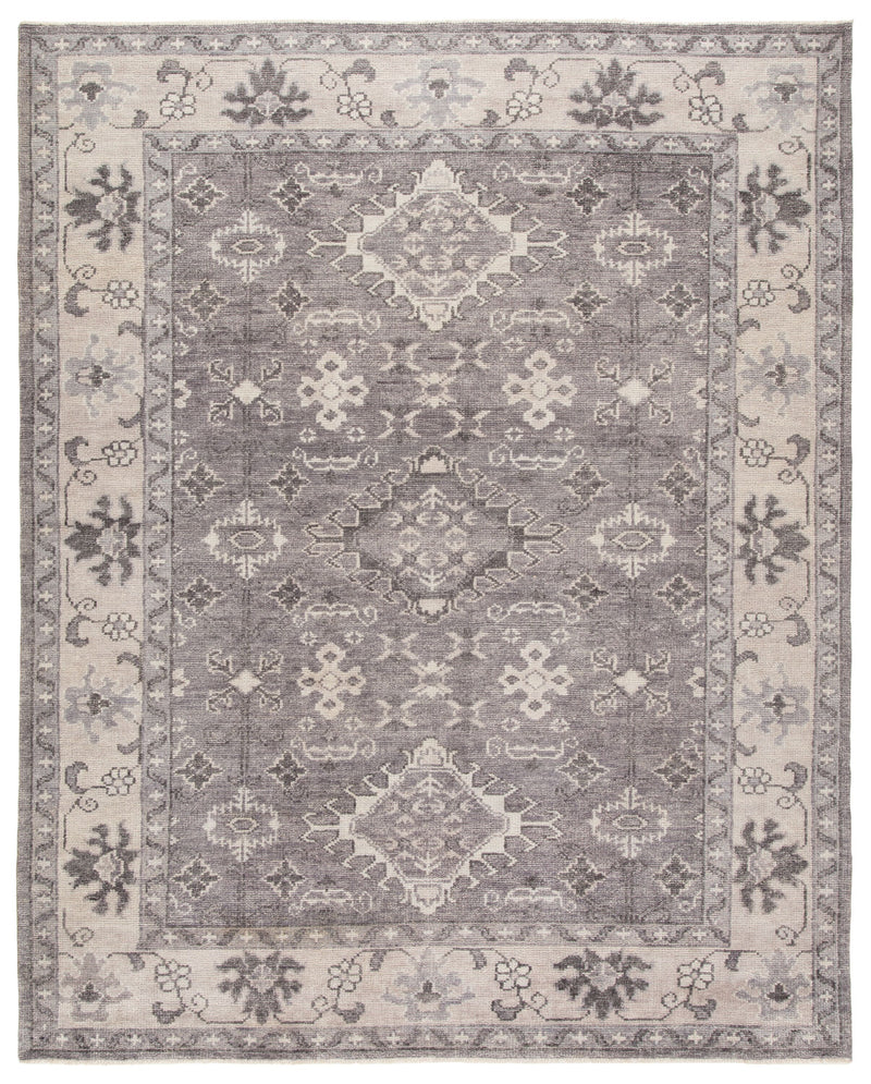 Kella Hand-Knotted Medallion Gray Area Rug
