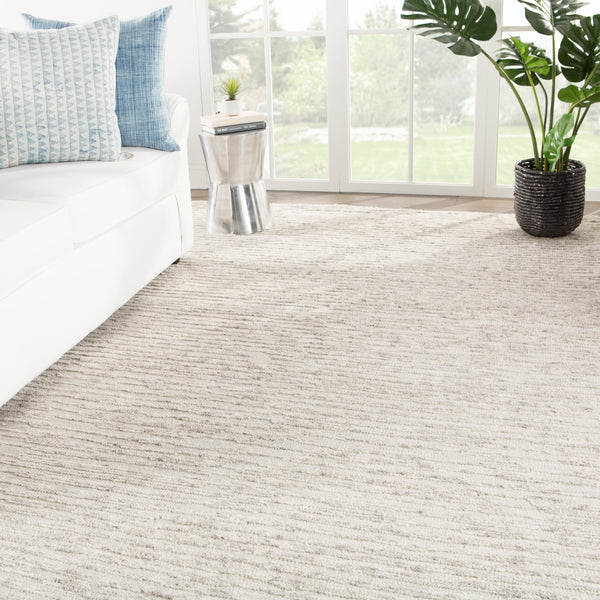 Basin Hand Knotted Solid Ivory & Gray Rug design by Jaipur Living
