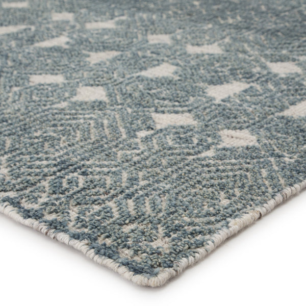 Abelle Hand-Knotted Medallion Teal/ Light Gray Area Rug