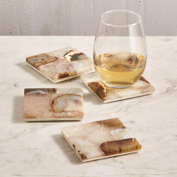 Agate Coasters with Marble Base, Set of 4