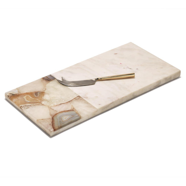 Agate and Marble Serving Tray with Cheese Knife