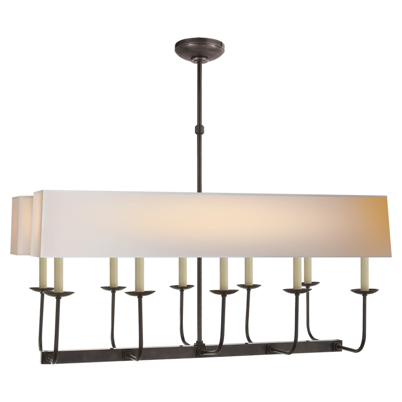 Linear Branched Chandelier with Natural Paper Rectangle Shade by Chapman & Myers