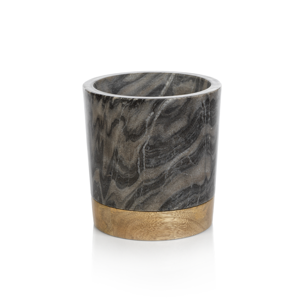 San Ramon Wood and Marble Ice Bucket/Wine Cooler by Panorama City