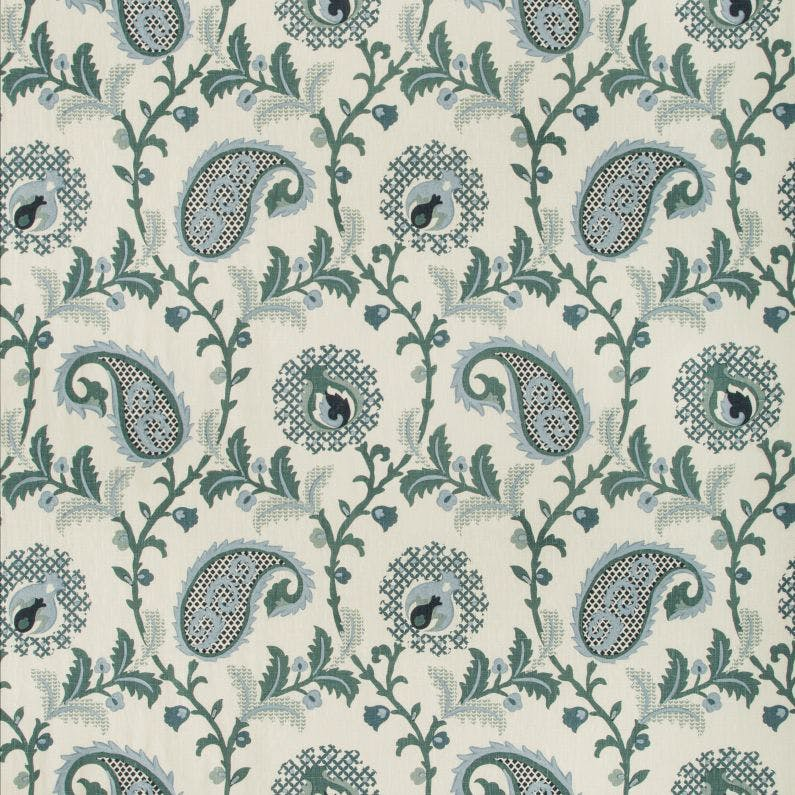 Saudade Paisley Fabric in Bay
