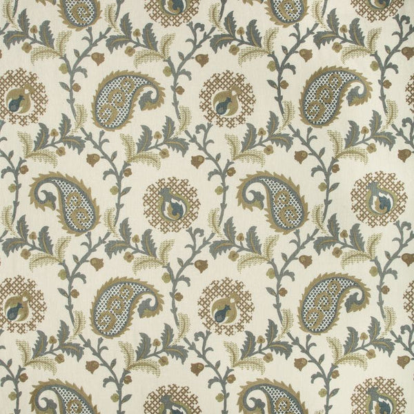 Saudade Paisley Fabric in Dried Thyme