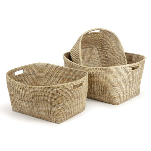 Burma Rattan Family Baskets with Handles in Whitewash, Set of 3