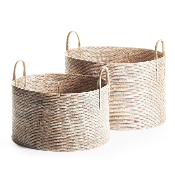 Burma Rattan Hampers w/ Handles in Whitewash, Set of 2