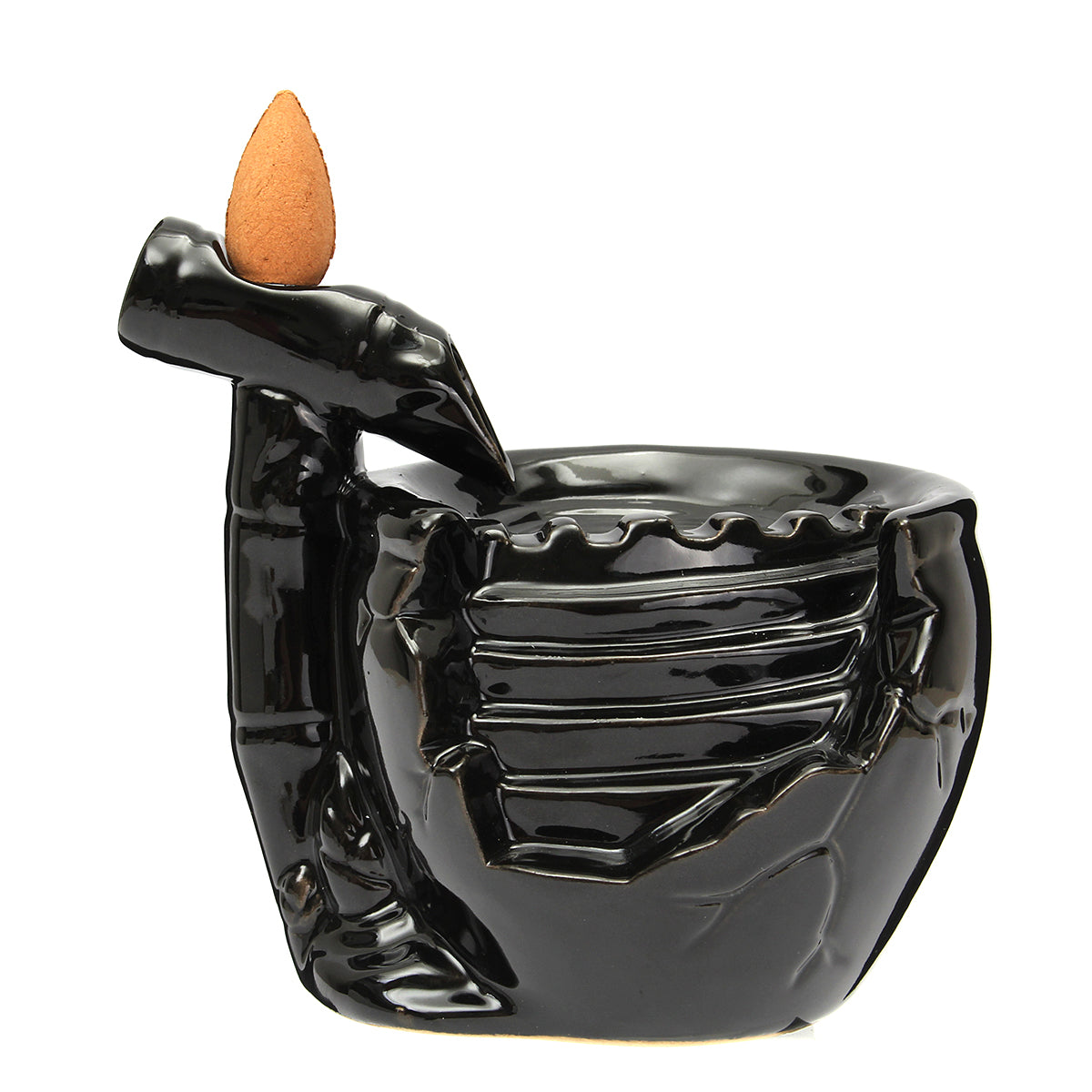 Backflow Waterfall Incense Burner | Glossy Black Bamboo Fountain | 10 Free Cones