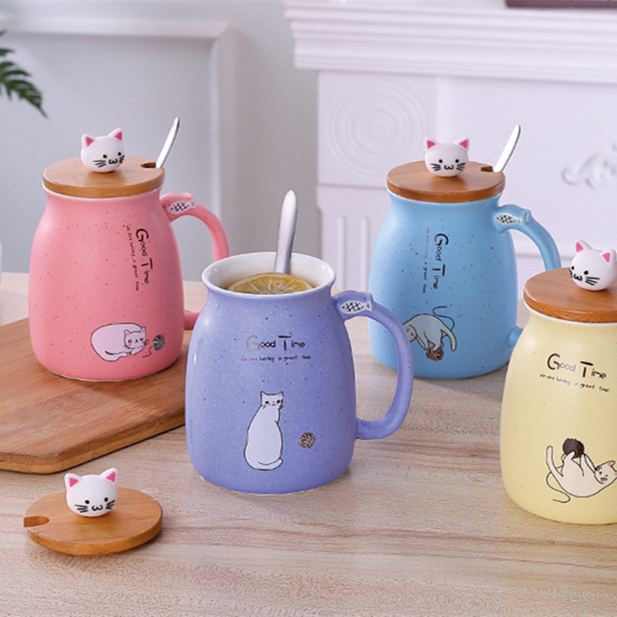 14oz Good Time Cat Mug With Wood Lid And Spoon | 4 Color Options