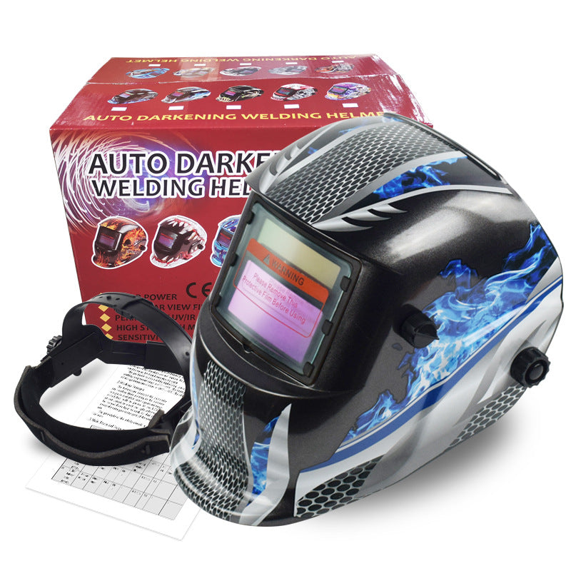 Auto-Dimming Welding Mask | Blue Flame Print | DIN 9-13 | Free Shipping