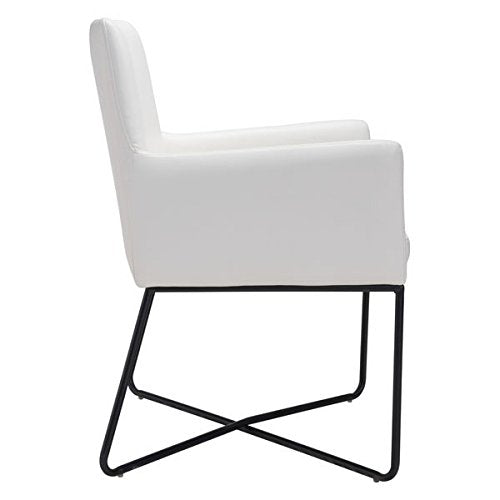 "White Lounge Chair | Vegan Leather | 24"" X 24.8"" X 33.9"""