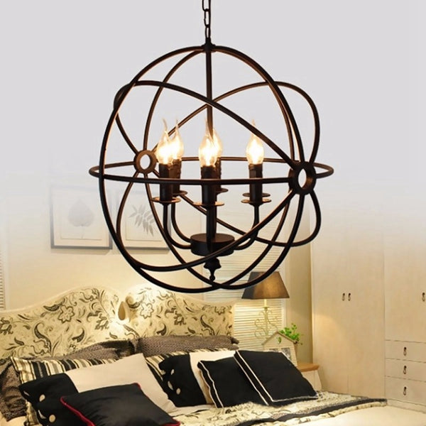 Ball Cage Chandelier | Modern Industrial 6-bulb light fixture, E14 LED, incandesent, Edison, candelabra bulbs