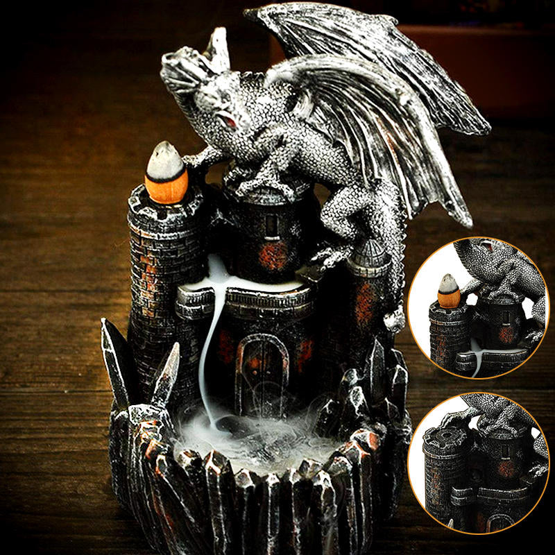 Dragon Atop Castle Backflow Waterfall Incense Burner