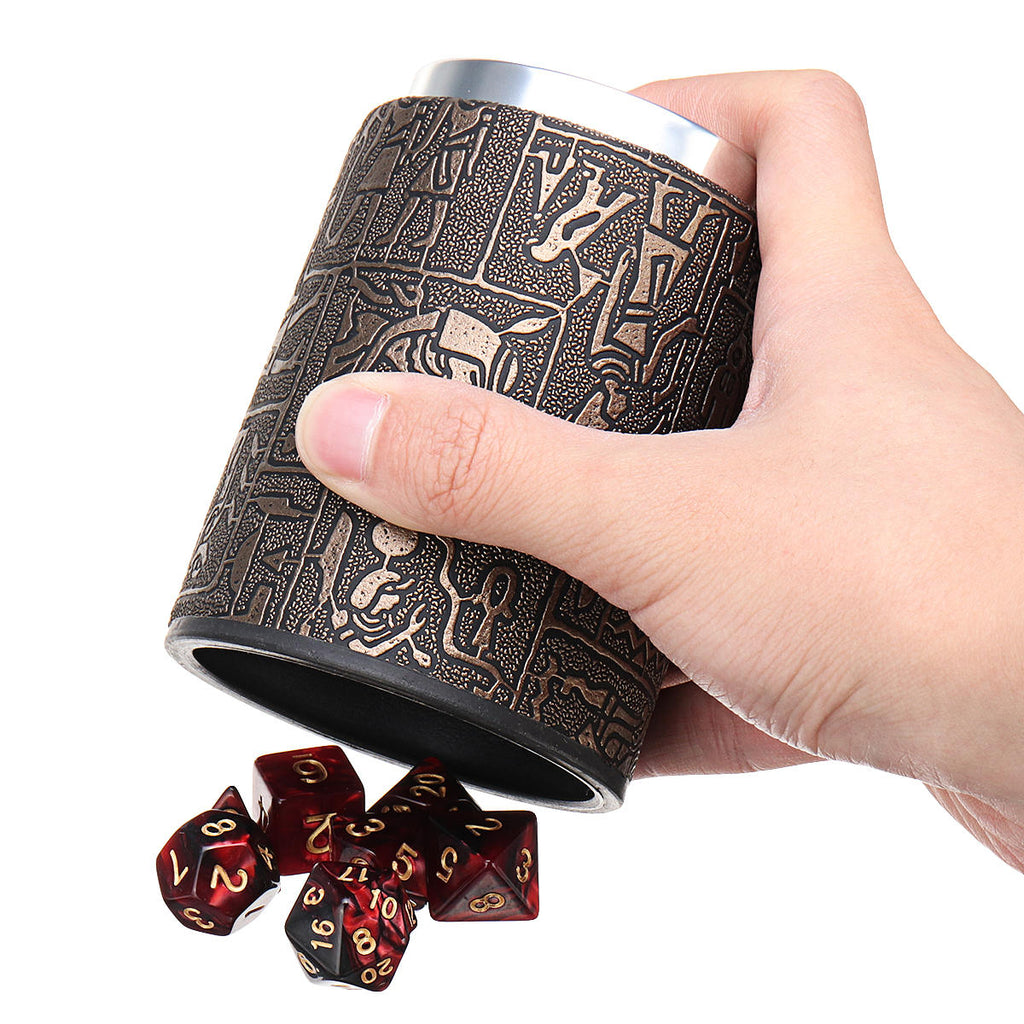 Red Stone Pattern Gaming Dice With Leather Cup | Free Shipping
