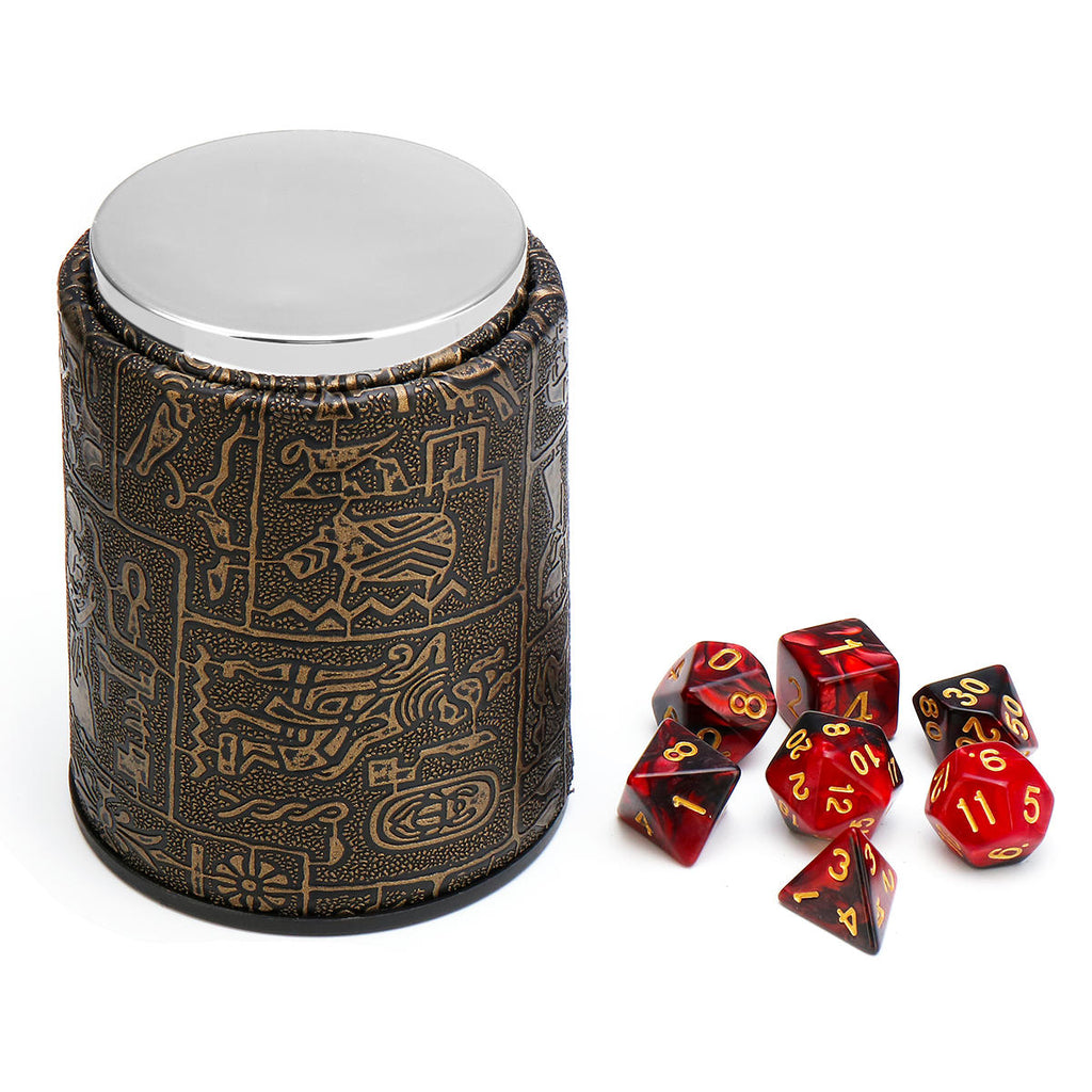 Stone Pattern Gaming Dice With Leather Cup | 3 Color Options | Free Shipping
