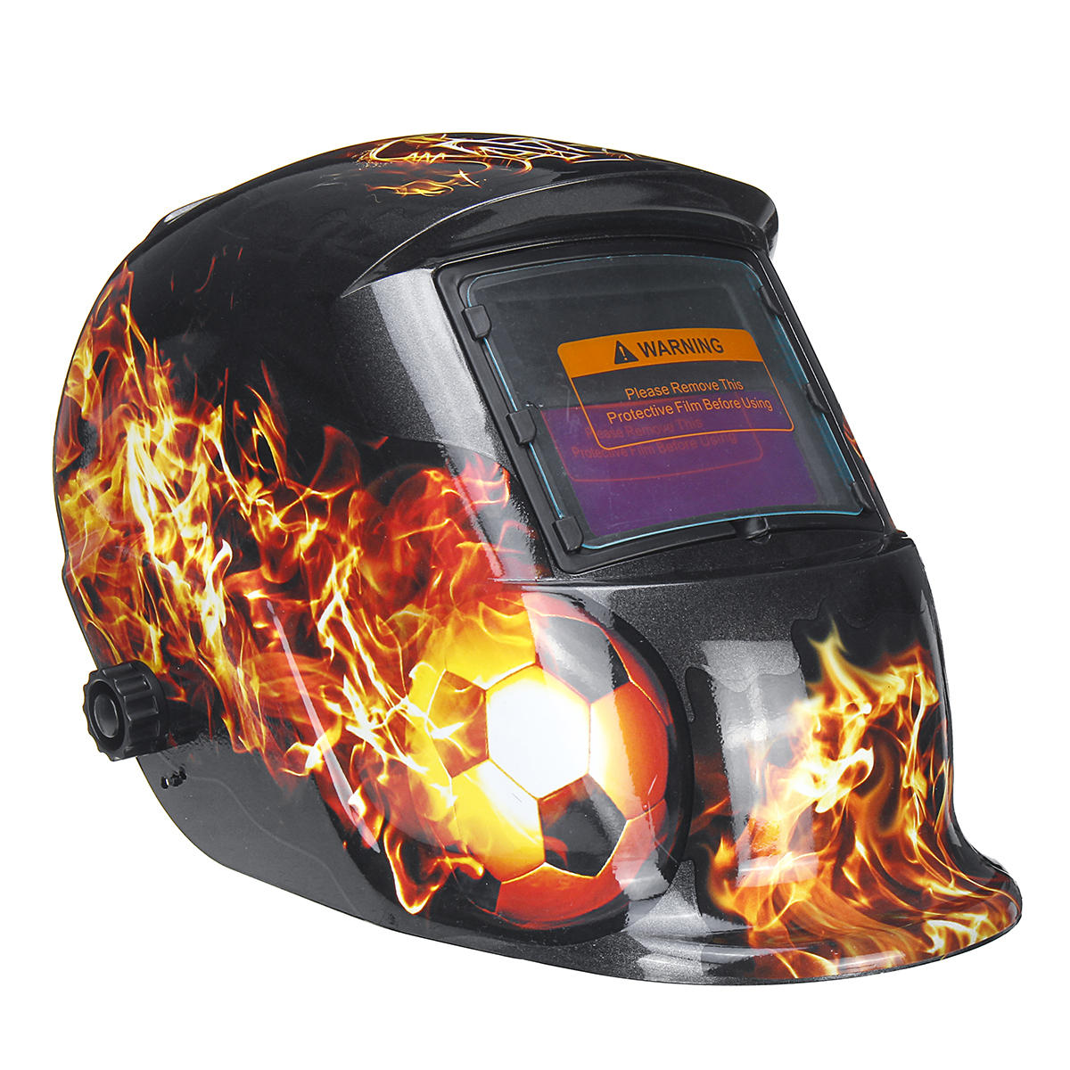 Auto-Dimming Welding Mask | Flaming Soccer Ball Design | DIN 9-13 | Free Shipping