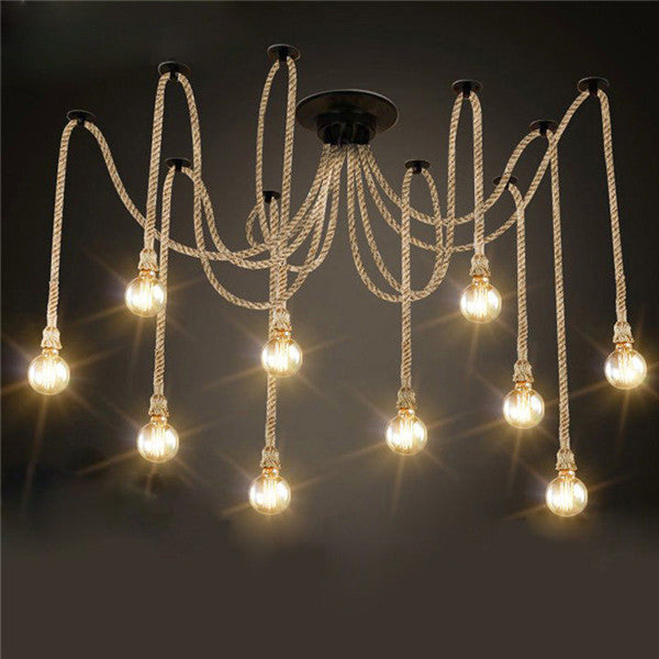 Hemp Rope Chandelier | Industrial or nautical 12-bulb light fixture, Edison, incandescent, or LED bulbs