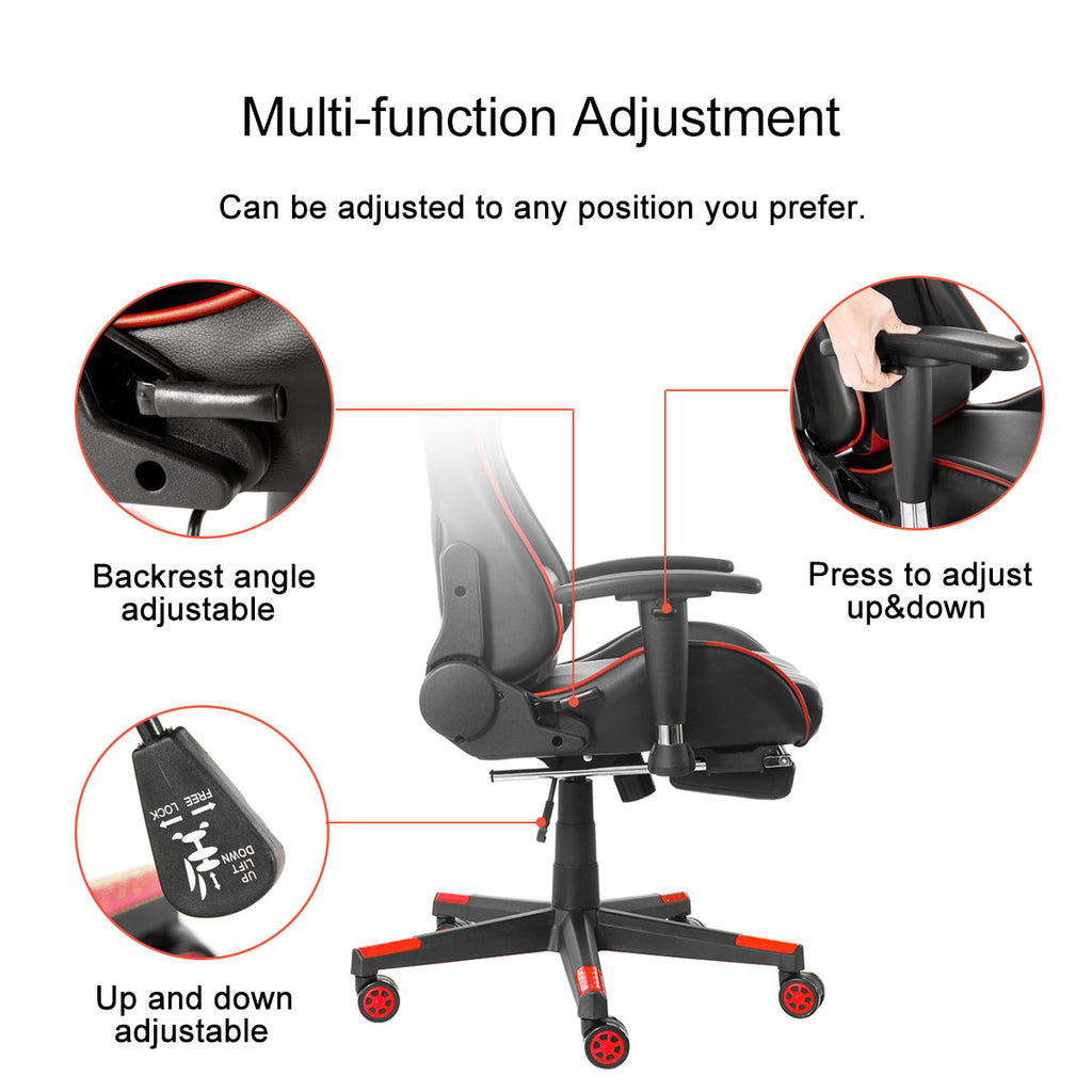 Ergonomic Adjustable Desk / Gaming Chair | Lumbar Support, Foot Rest
