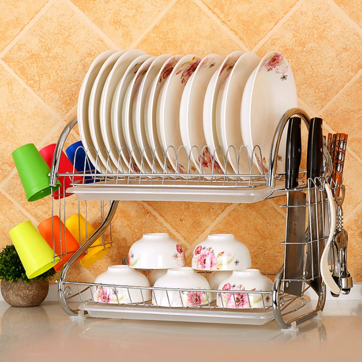 2-Tier Stainless Steel Dish Drying and Storage Rack | Free Shipping