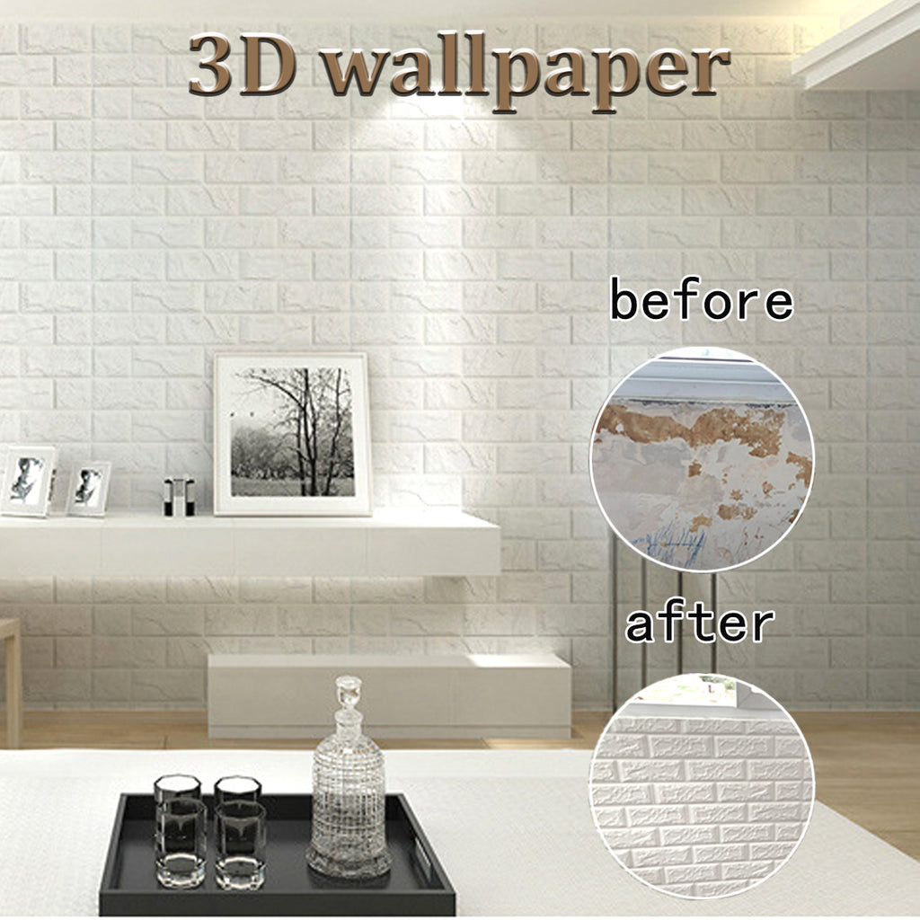 Self-Sticking 3D Brick Wallpaper Panels | Free Shipping