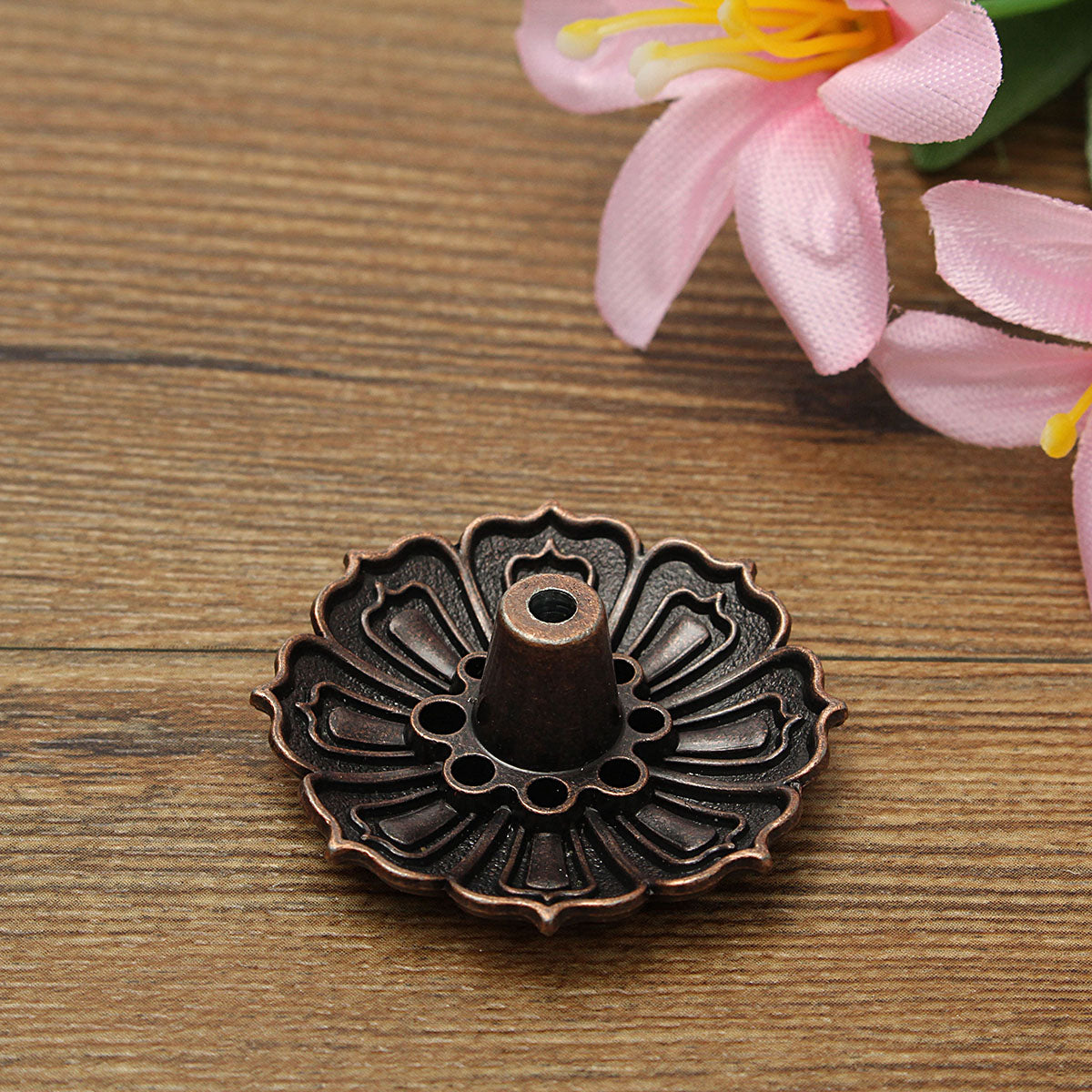 Copper Color Lotus Flower Incense Burner | Stick or Cone Incense