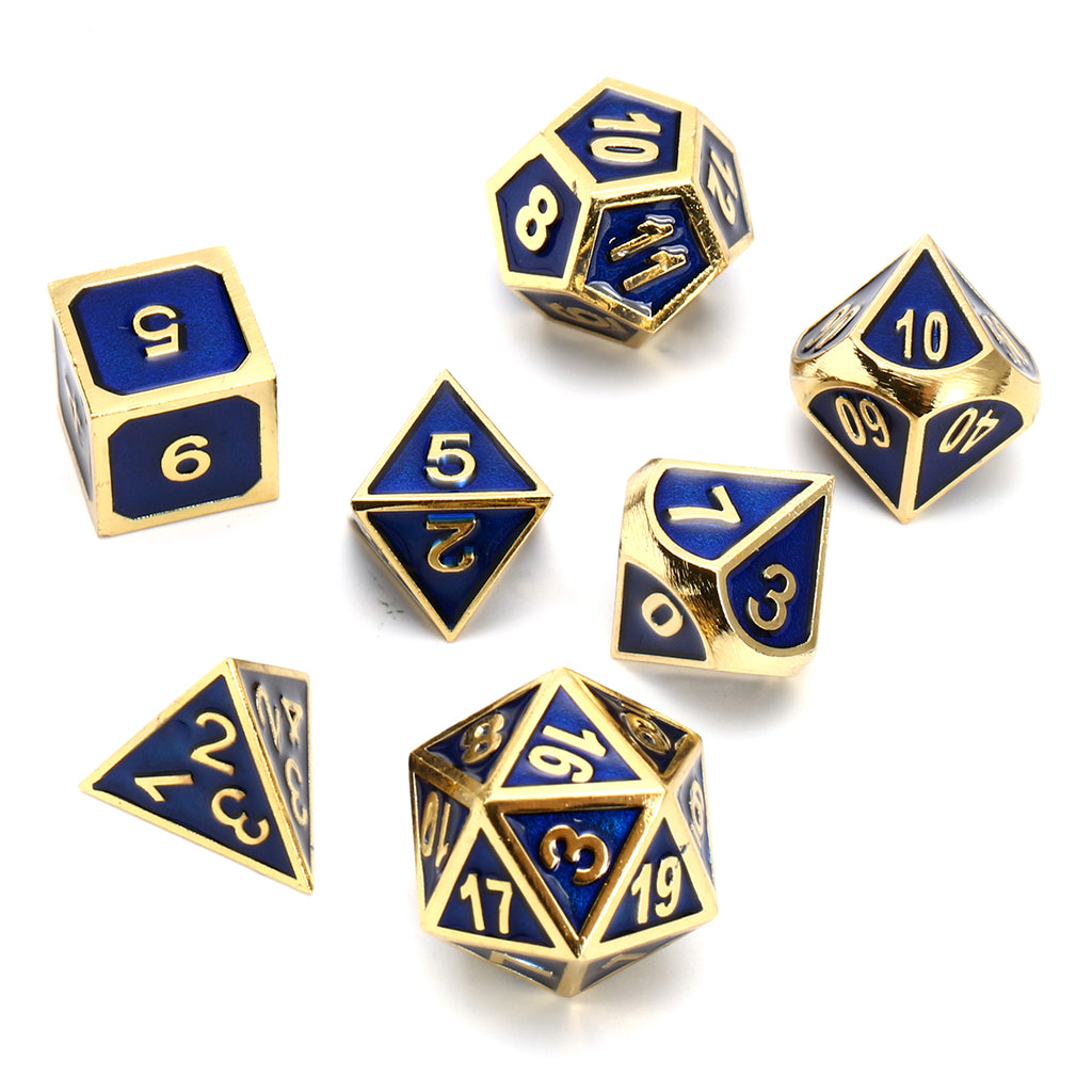 Heavyweight Blue and Gold Gaming Dice | Free Shipping