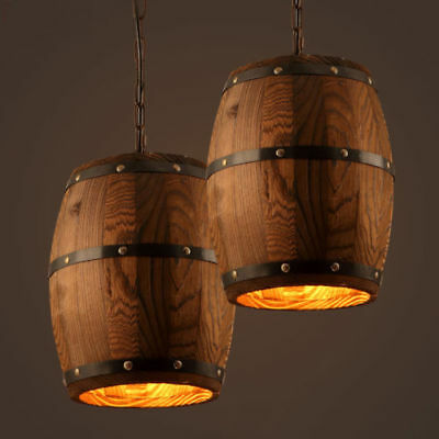 Barrel Pendant Light | Cool wooden light fixture, E27 LED, incandescent, Edison bulbs | Free shipping