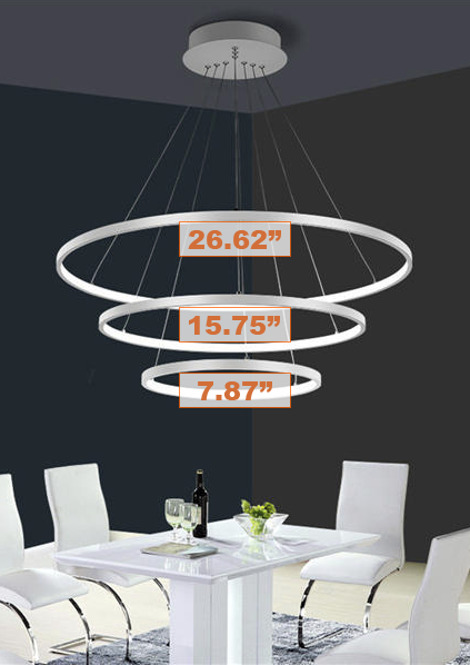 Remote Dimming LED Ring Chandelier | Fixture With Three Configurable Rings