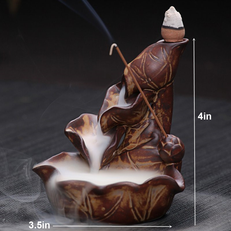 Autumn Leaves Backflow Waterfall Ceramic Incense Burner