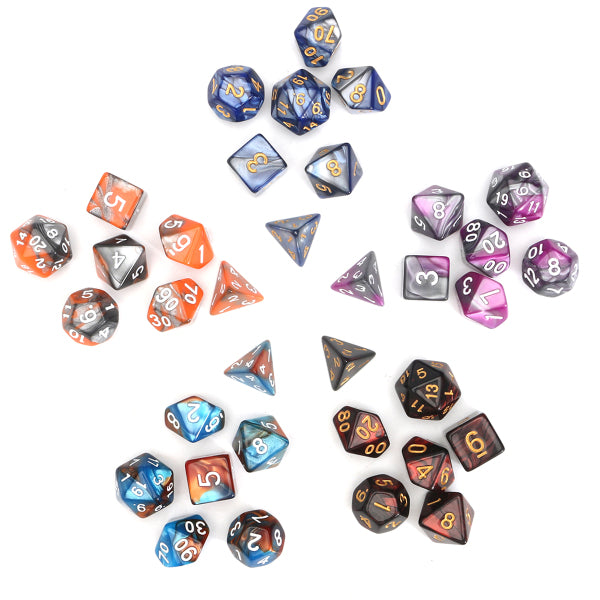35 Gaming Dice | 5 Sets of 7 Polyhedral Dice | Free Shipping