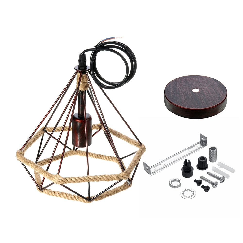Rope Cage Pendant | Black or Copper | Industrial E27 light fixture: Edison, incandescent, LED bulbs