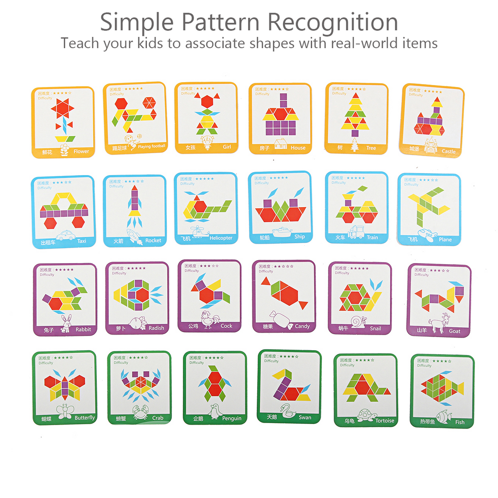 Pattern Recognition Puzzle Game | Colorful Geometric Pieces | Perfect For Homeschool