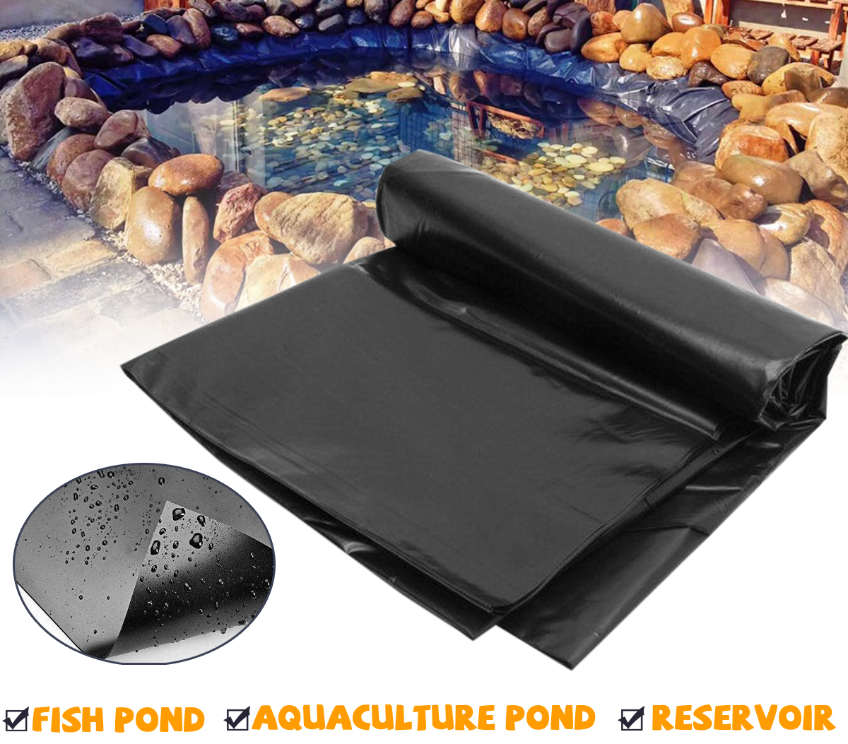 PVC Pond Liner for Garden Water Features | 4 Sizes