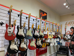 Electric and Acoustic Stringed Instruments including Guitars, Ukulele, Bass, and  Strings