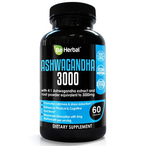 Premium Organic Ashwagandha Root Powder with Organic Black Pepper Extract 3000mg - 60 Veg Capsules Herbal Supplements Be Herbal