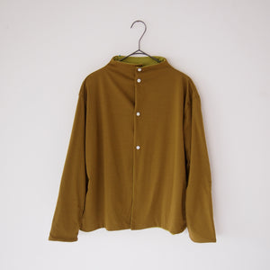 ヒムカシ Polartec power dry - Reversible short cardigan / umber & lime