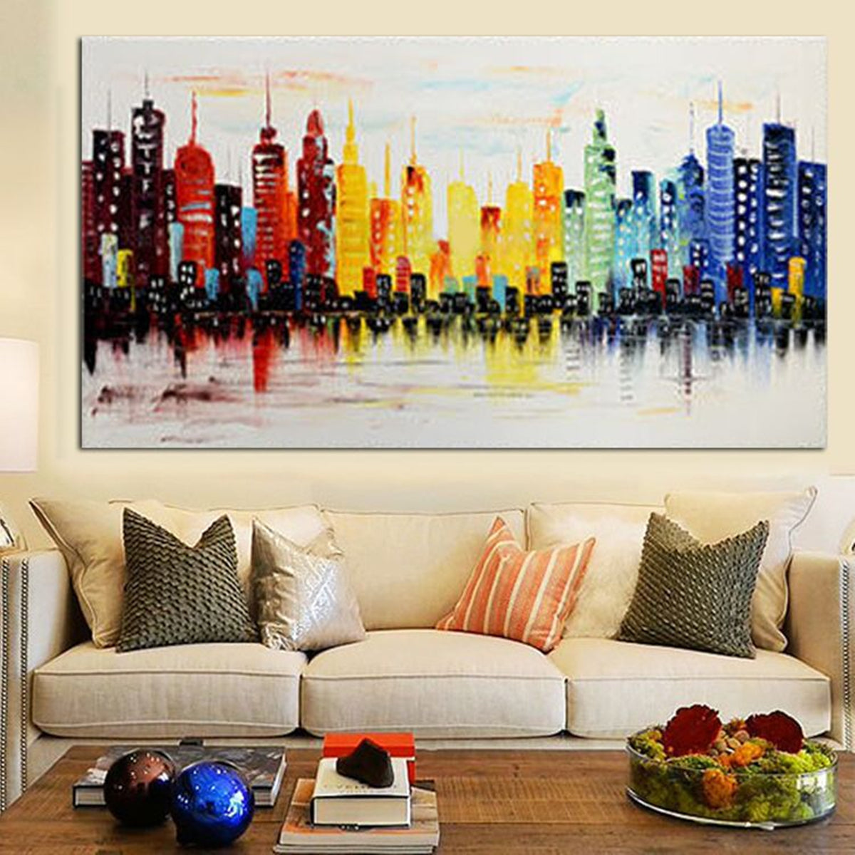 120X60CM Modern City Canvas Abstract Painting No Frame